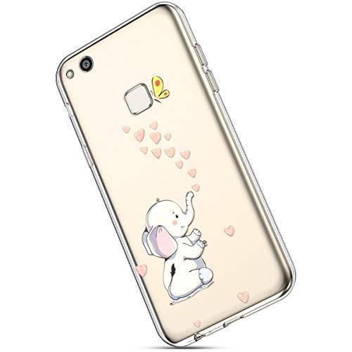 Ukayfe Huawei P10 Lite Cover Silicone Trasparente con Modello Ultra Sottile Leggere e Chiaro Morbida Gel Silicone Gomma TPU Case Protettiva Custodia per Huawei P10 Lite-Elefantino