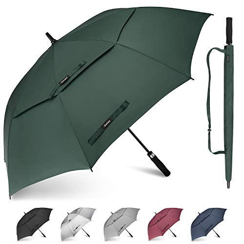 Gonex 68 Inch Extra Large Golf Umbrella, Automatic Open Travel Rain Umbrella with Windproof Water Resistant Double Canopy, Oversize Vented Umbrellas for 2-3 Men and UV Protection, Dark Green