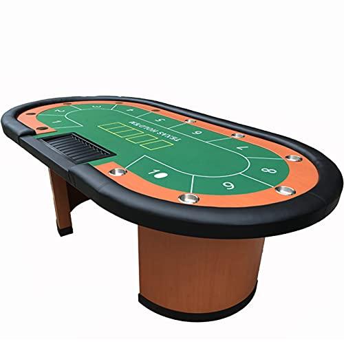 JLFFYJ Mesa de Póquer con Portavasos de Acero Inoxidable, Mesa de Juego de Ocio Texas Holdem Casino con Rieles Acolchados Fácil de Almacenar y Transportar, No Requiere Ensamblaje, Verde