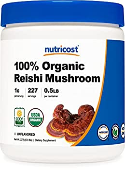 Nutricost Organic Reishi Mushroom 0.5LB  8oz  Powder - USDA Certified 100% Organic Vegetarian Non-GMO Gluten Free