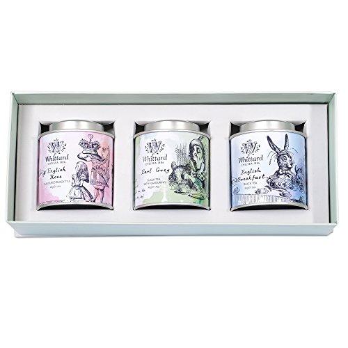 Whittard (ウィッタード)不思議の国のアリス ミニキャディギフトボックス 紅茶ミニ缶3個セット ブレックファスト・イングリッシュローズ・アールグレイ Alice in Wonderland Mini Caddy Gift Box [並行輸入品]
