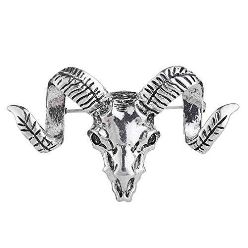 #N/A Sawyerda Broche de cabeza de cabra de acero inoxidable, joyería creativa para suéter, chal, hebilla para fiesta, regalo para mujeres y hombres, plata