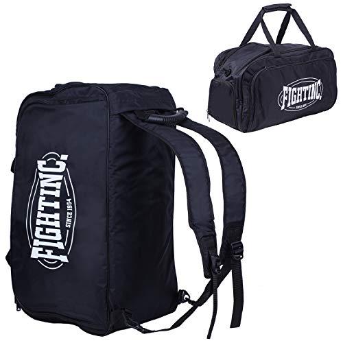 Fightinc. Rucksack Tasche Gym FC3 - praktisch für Boxen Kickboxen Muay Thai MMA Kampfsport Fitness schwarz UVM schwarz (001)