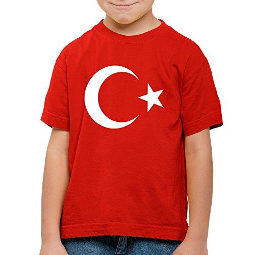 CottonCloud Türkei Kinder T-Shirt Turkey Türkiye Flagge Mondstern, Farbe:Rot, Größe:128