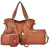 Soperwillton Handbags for Women Fashion Shoulder Bag Top-handle Satchel Large Tote Bags Purse Set 4pcs