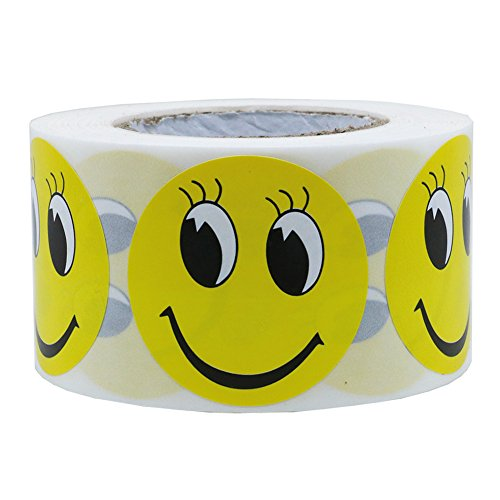 """Hybsk Yellow Smiley Face with Eyelash Happy Stickers 1.5"""" Round Teacher Labels 500 Total Per Roll"""