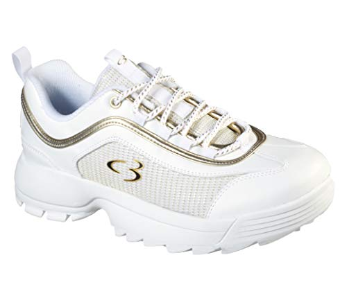 Concept 3 by Skechers Women's Beyond Fresh Lace-up Fashion Sneaker, White/Gold, 8 Medium US