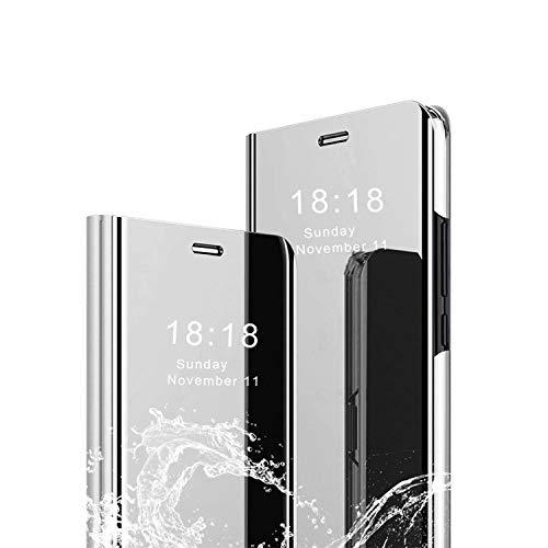 cookaR Oppo Reno 2 Hülle Spiegel Schutzhülle Flip Handy Hülle mit Standfunktion Handyhülle Tasche für Oppo Reno 2 Smartphone,Silber