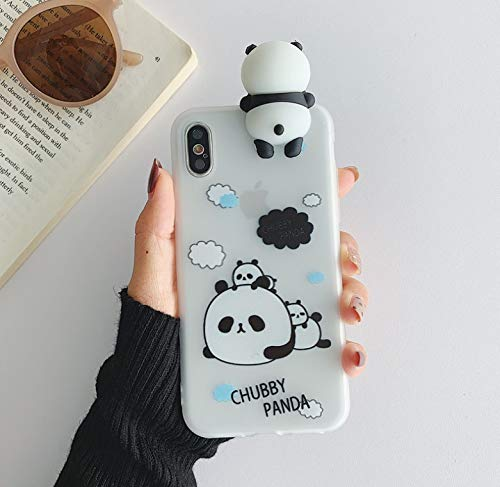 YLFC Funda De TPU Suave para Móvil, Funda De Silicona De Panda 3D para iPhone 7, 8 Plus, X, 12, 11 Pro, XS, MAX, XR (Color : 2, Size : For iPhone XS)