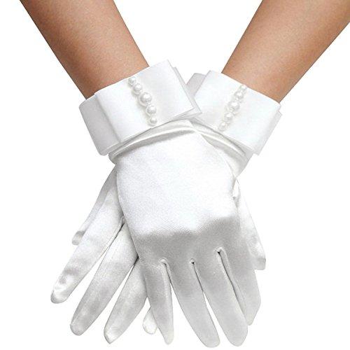 Elinadress Women's Wrist Length Bridal Gloves With Pearls For Wedding Dress Finger Gloves White