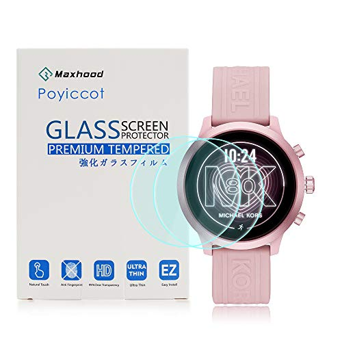 for Michael Kors Access MKGO Screen Protector, Poyiccot 2pack Tempered Glass 9H HD Scratch Resistant Screen Protector for Michael Kors MKGO Smartwatch