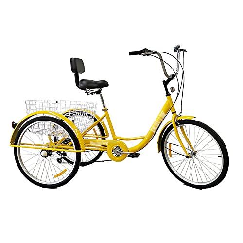 YINAIER Dreiradfahrräder, Fahrradkörbe Dreirad, 6-Gang-Getriebe, Lastenrad Mit Einkaufskorb Für Senioren Damen Herren, Mehrfarbig(Color:Gelb)