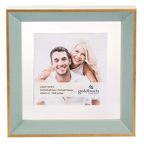 Goldbuch Light Spirit Fotos (10 x 10 cm, con Soporte y Marco Dorado), Color Blanco, Azul Turquesa, ca. 17 x 17 x 4 cm