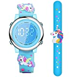2 Pieces Unicorn Kids Watch and Silicone Wristband Cute 3D Cartoon Waterproof Toddler Wrist Digital Watch 7 Color Lights Watch with Alarm Stopwatch for 3-10 Year Girls (Lively Blue)