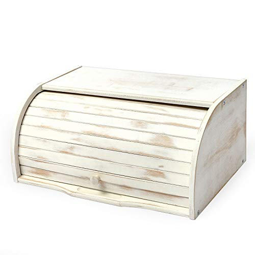 AVV White Farmhouse Bread Box for Kitchen Countertop Extra Large Counter Roll Top Rustic Bamboo Breadbox Loaf of Bread Boxes Storage Container