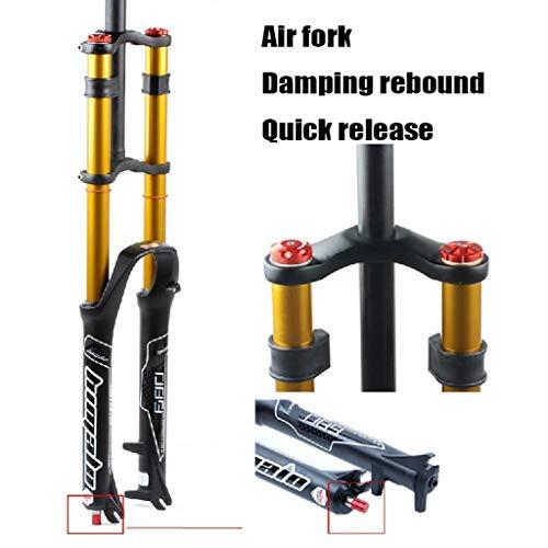 MZP Fahrradgabel 26 27.5 29 Zoll Doppelte Schulterkontrolle MTB Bergab Suspension Luftdruck Gerades Rohr Ultraleicht Aluminiumlegierung Stoßdämpfer Rebound Adjust (Color : Gold, Size : 29inch)