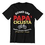 Sono Un Papa' Ciclista Giusto Un po' Normale, Solo Piu' Figo T-Shirt Uomo Idea Regalo Divertente (Nero, XXL)