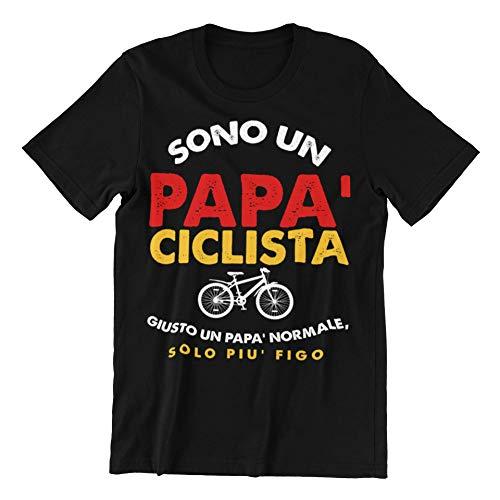 Sono Un Papa' Ciclista Giusto Un po' Normale, Solo Piu' Figo T-Shirt Uomo Idea Regalo Divertente (Nero, XXXL)