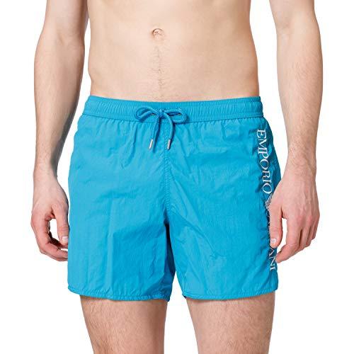 Emporio Armani Mens Swimwear Boxer Embroidery Logo Swim Trunks, Black, 56