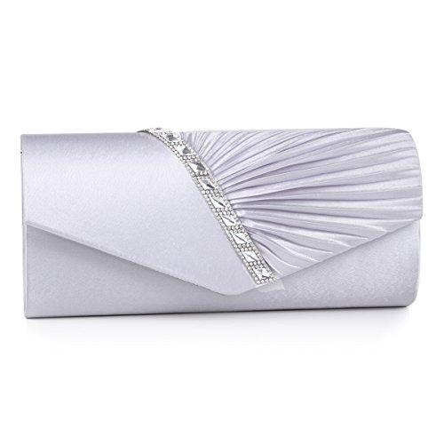 Damara - Pochette da donna, decorata con cristalli, ideale per serate eleganti, argento (Silver), Large