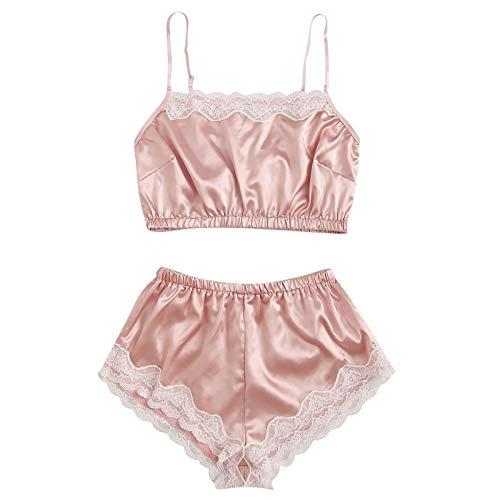 Baby Doll Dress Dessous Nachtwäsche Damen Damen Sommer Pyjama Ouvert Schlafanzug Damen V BH Push Up Transparenter Schlafanzug (Rosa,XL)