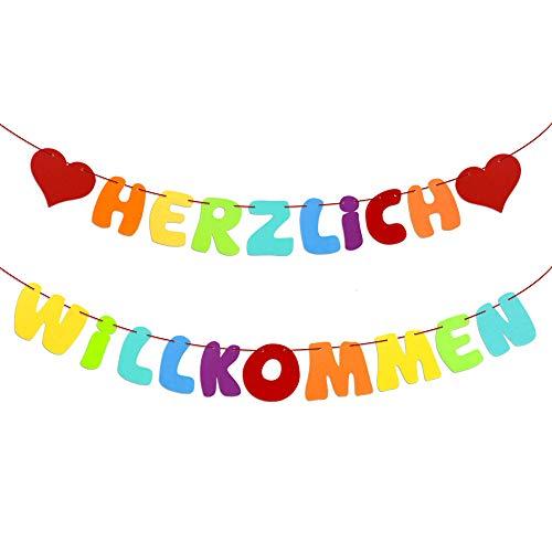 Herzlich Willkommen Girlande Banner Welcome Girlande mit Herzen für Partydeko Party Dekoration Familie Geburtstagsdeko Geburtstag als Hängedekoration Filz