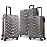 American Tourister Arrow Expandable Hardside Luggage Set 3-Piece (21/24/28) with Spinner Wheels, Charcoal