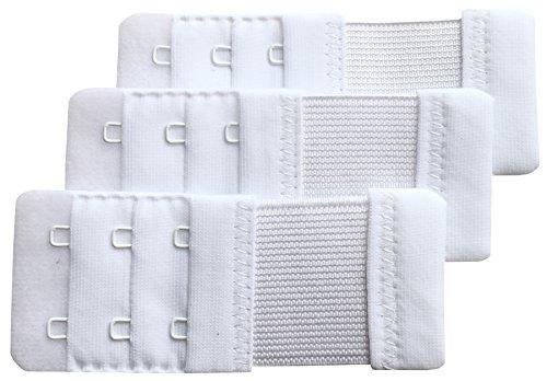 Chanie Femme Lot de 3 Doux Confortables Extensions de Soutien-Gorge 2 Crochets, 9,2cm x 3,8cm