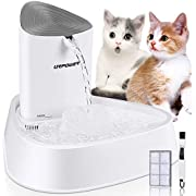 URPOWER Pet Fountain, Upgraded Automatic Cat Fountain Dog Water Fountain Cat Water Dispenser, Adjustable Water Flow Setting Drinking Fountain Cat Bowl for Cats, Dogs, Pets(White)