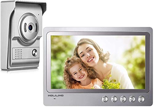 WOLIWO - Videoportero automático con Sistema de intercomunicador de 9 Pulgadas, vídeo en Color, con Timbre de Puerta, Monitor de Entrada y de Entrada + cámara de visión Nocturna IR COMS para familias