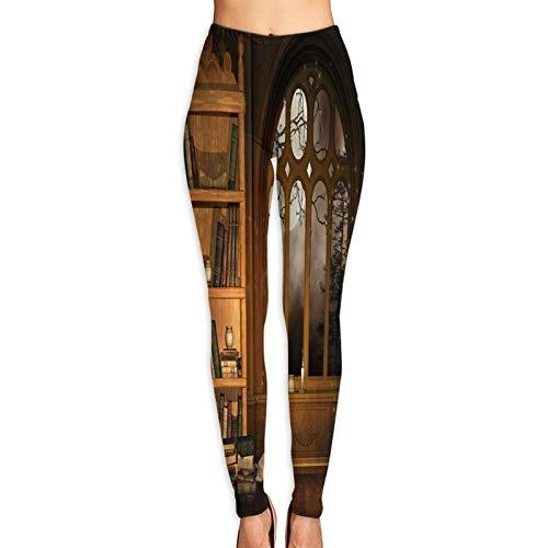 Aerokarbon Yogahosen Damen,Zauberer Bibliothek Bücher Kerzen,Hoch taillierte Trainingshose Gedruckte Yoga Stretch Strumpfhose XL
