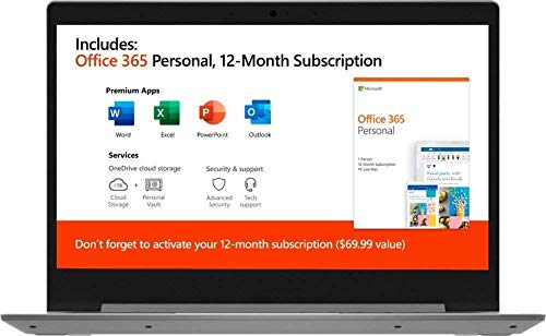 """Lenovo IdeaPad 14"""" Laptop Computer for Business Student/ AMD A6-9220e up to 2.4GHz/ 4GB DDR4/ 64GB eMMC/ Microsoft Office 365/ Webcam/ Windows 10 S/ iPuzzle MousePad+ 128GB SD CARD/ Online Class Ready"""