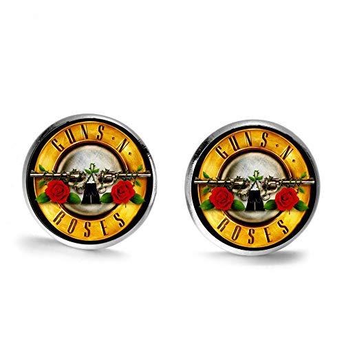 Guns N Roses Pendientes de tuerca con diseño de armas y rosas de cristal, cabujón steampunk, joyería moderna