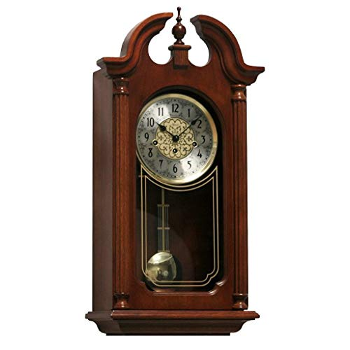Qwirly Store: Hopewell Mechanical Regulator Wall Clock #70820N90341 by Hermle - Elegant Antique Style Wood Clock with Pendulum and Chimes