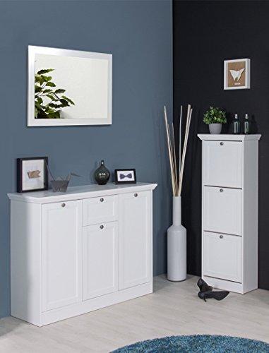 expendio Garderobenset Landström 147 weiß Sideboard Kommode Schuhschrank Landhausmöbel Diele Flur