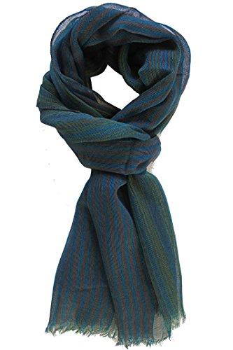 Rotfuchs Écharpe d'été tissée à rayures à la mode vert bleu 100% laine (Mérinos)