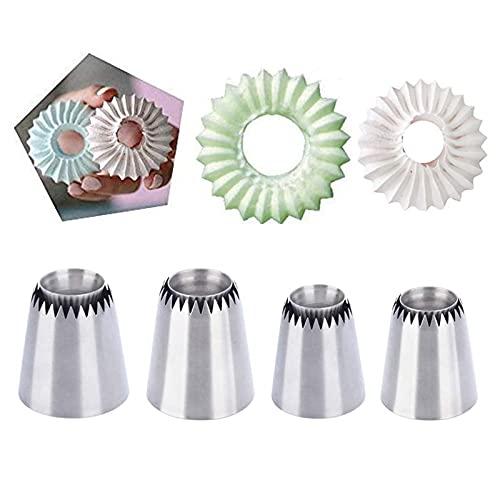 KBstore 4 Stück Keksspitzen-Set – ideal für Zuckerguss-Spritztüllen aus Edelstahl für Cupcakes, Gebäck, Kuchendekoration #10, 2
