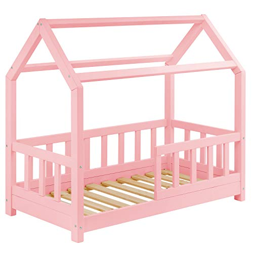 Hausbett für Kinder 70x140 cm - Mädchen Bett aus Holz mit Rausfallschutz | Schönes Kinderbett im skandinavischen Haus Stil | 70 x 140 Kiefer Bett inkl. Lattenrost | Rosa Massivholz