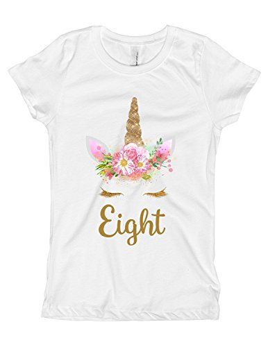 Girls Pink and Gold Unicorn Birthday Shirt Any Age OR Name 4