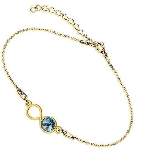 Beforya Paris Infinity - Pulsera ajustable de plata de ley 925 bañada en oro de 24 quilates con elementos originales de Swarovski - Pulsera para mujer con bolsa de regalo y caja de regalo