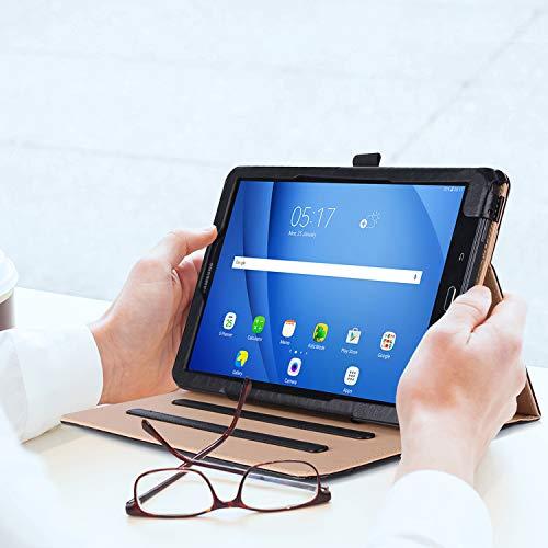 ProCase Hülle für Galaxy Tab A 10.1 - Stand Folio Case Cover für Galaxy Tab A 10,1 Zoll Tablette SM-T580 T585, mit Mehreren Betrachtungswinkeln, Dokumentenkarte Tasche -Schwarz