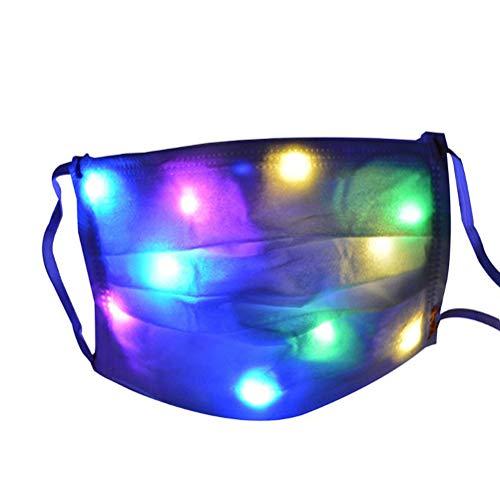 Atrumly Mascarilla luminosa para hombres y mujeres, con luz LED, 7 colores, para fiestas de música, Navidad, Halloween, lavable, cómoda y segura