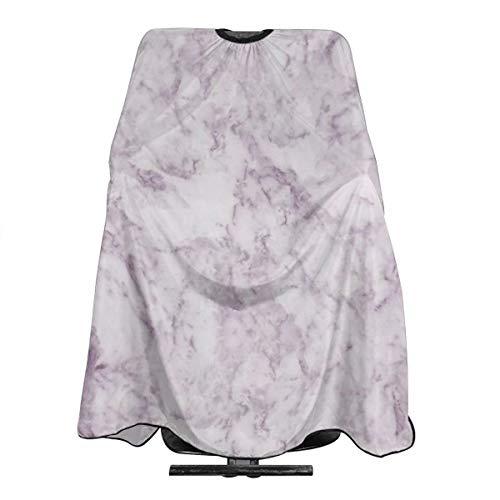 Tablier de coiffure élégant et moderne - Style vintage - Blanc lilas - Marbre - Imperméable - Pour homme et femme - Antistatique - 140 x 168 cm