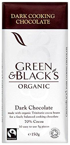 GREEN & BLACK'S Organic Cooking Chocolate Dark 150g (PACK OF 15)
