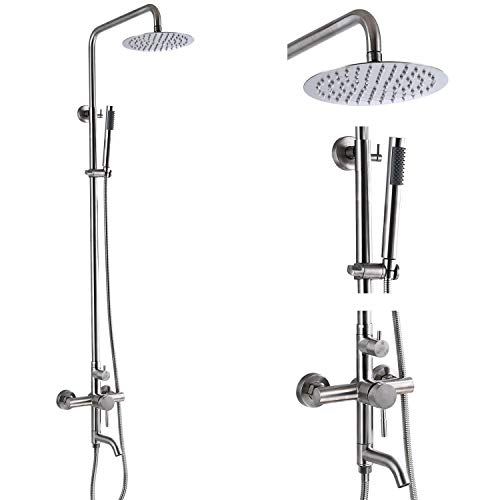 Aolemi Outdoor Shower Fixture SUS304 Triple Function Brushed Nickel Wall Mounted Stainless Steel Shower Faucet System Set with Hand Spray,8' Rain Shower Head