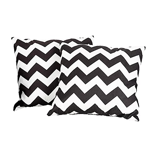 KYUNHOO White and Black Chevron Throw Pillow Cover 18 x 18 Zigzag Stripe 2 Pack Decorative Pillow Cover Peach Skin Velvet Geometric Modern Cushion Covers for Sofa Couch Living Room Bedroom