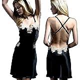 HONGNA Pyjamas Frauen Silk Pyjamas Sommer-Spitze-reizvolle Weiche Cozy Sling Silk Nachtkleid (Color : Black, Size : M)