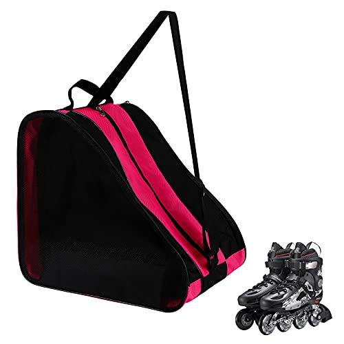 GLAITC Bolsa de Patinaje sobre Ruedas,Bolsa de Patinaje sobre Hielo Unisex con Correa de Hombro Ajustable Bolsa de Almacenamiento de Tela Oxford para Patines para Mujeres, Hombres, niños Pink