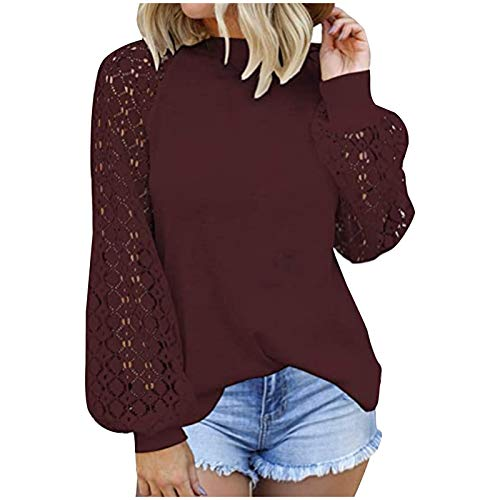 VEMOW Blusas y Camisas de Manga Corta para Mujer, 2021 Moda Casual Camiseta de Encaje Crochet para Mujer Tops Túnica de Manga Larga Ahuecados Blusa Sudadera Suelta Casual Patchwork(B Vino,XL)
