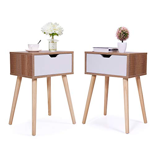 JAXPETY Set of 2 Nightstand Beside End Table with Storage Drawer and Solid Wood Legs, Accent Table for Living Room Bedroom Home Furniture (White& Walnut)